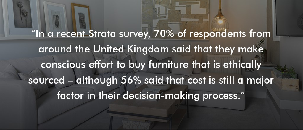 70%25 of Strata survey respondents said they try to buy ethically-sourced furniture
