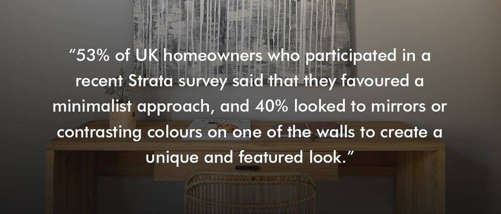53%25 of UK homeowners said they favoured a minimalist approach to interior design