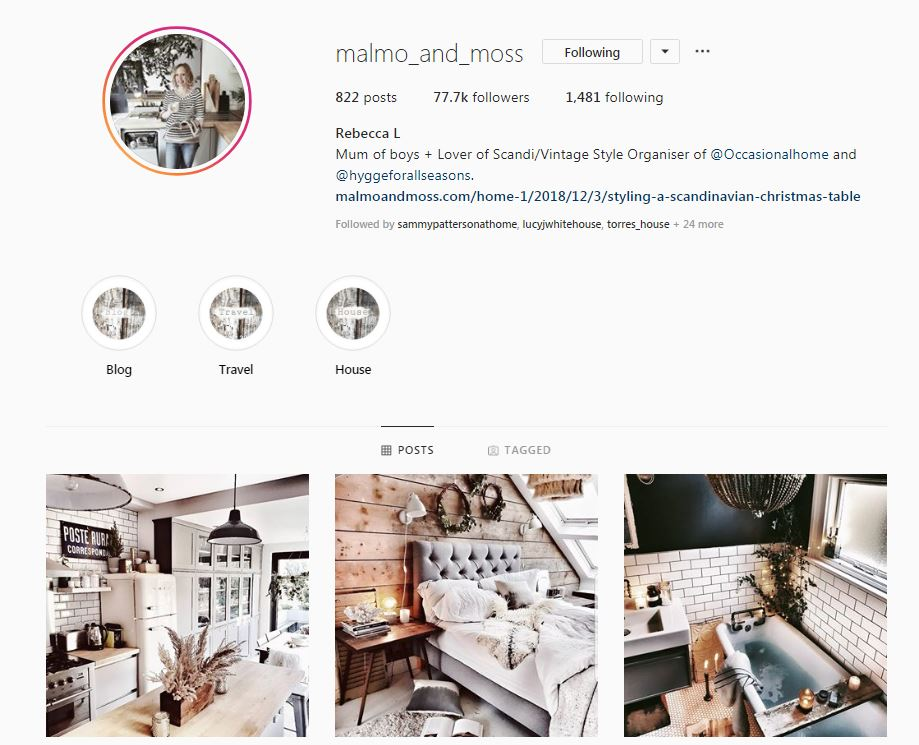Malmo and Moss is an inspirational interior design account on Instagram