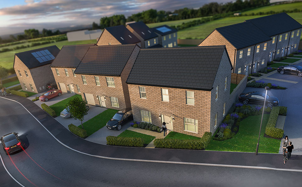 Aerial view at Finesse - Whinmoor - Strata Homes
