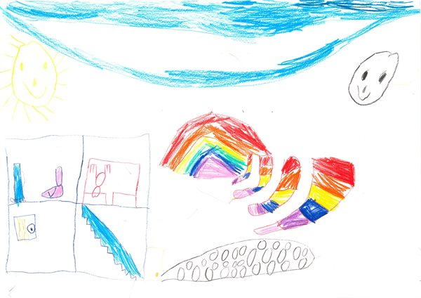 House made of rainbows and socks by Jack (age 7)